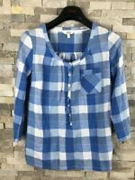 Fat Face Ladies Size 8 Blue Checked Blouse Top 100% Cotton