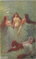 Des Jünglings Traum, 3 nackte Frauen im Mondschein, alte Ak, Bild von M. Nader