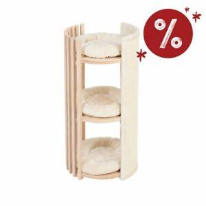 Tiragraffi a torre per gatti in legno a 3 piani cuccia con cuscino