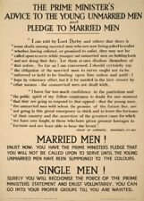 THE PRIME MINISTERS ADVICE TO YOUNG UNMARRIED MEN British WW1 Propaganda Poster