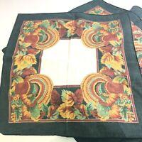 Lot of 4 Cloth Dinner Napkins Turkey Pumpkin Leaf Pattern Fall Thanksgiving vtg