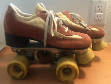 Vintage Roller Derby Roller Skates size 6 Rust Suede & Tan Yellow Wheels & Stop