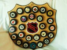 IN GLAS CO 26 NHL TEAM HOCKEY PUCK DISPLAY LARGE NHL CREST WALL MOUNT PLAQUE