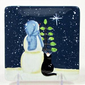 "MWW Market FAMILY TRADITION - SNOWMAN CAT 4.5"" Mini Plate Christmas Star"
