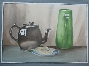 Geoffrey Robert Russell - Still life with teapot and green jug