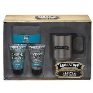 Man'Stuff Scrub Up & Go Mens Toiletry & Travel Mug Gift Set Male Grooming