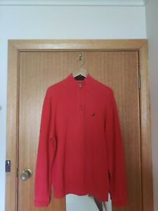 Nautica Men's  Quarter-Zip Sweater - Red - Size XL