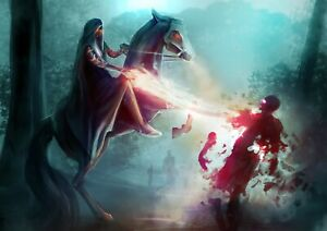 Awesome Horse Warrior Poster Size A4 / A3 Magical Fantasy Poster Gift #14093