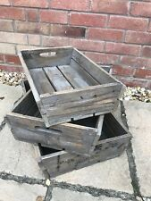 Set of 3 Rustic Wooden Slatted Apple Crates Home Storage Display Hamper Boxes