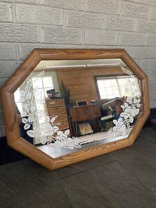 "Vintage Boho Large Etched Wooden Framed Octagon Hanging Wall Mirror 31.5"" x 21.5"