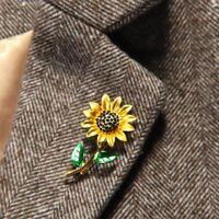 Elegant Women Rhinestone Alloy Sunflower Enamel Brooch Lapel Pin Clothes Jewelry