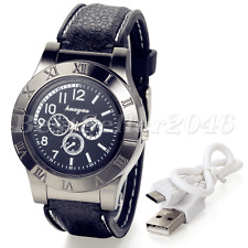 Mens Quartz Watches Cigarette Lighter USB Rechargeable Analog Sports Wrist Watch