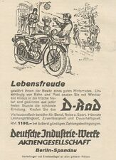 Y7555 Moto D-RAD - Pubblicità d'epoca - 1927 Old advertising