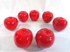 "Decorative Fake Fruit Set of 7 Red Apples 3"" Handmade Ceramic"