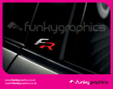SEAT LEON 06-12 FR FSI CUPRA B PILLAR STICKERS GRAPHICS DECALS x3 SILVER AND RED