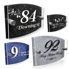 Modern Door House Number Plaque Personalised Glass Effect Acrylic Glitter Sign