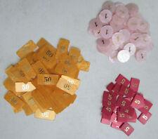 Vrac de 124 jetons nacrés plastique pour poker, casino valeur 1, 5 et 50