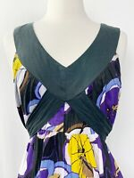 Vasna Desire Dress Large Floral Maxi Black Yellow Purple