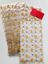 10 x CHRISTMAS GINGERBREAD MAN  DESIGN FESTIVE CELLO TREAT Sweet Gift BAGS CAKE