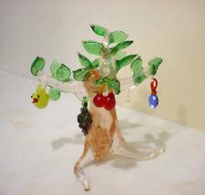 Blown Art Glass MINIATURE TREE Figurine w (4) Hanging Ornaments or Pendants XLNT