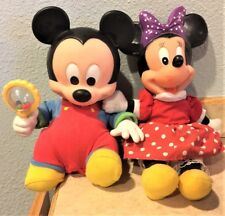 Vintage Minnie & Mickey Mouse Dolls Mickey moves/shakes rattle So Cute !