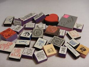 Lot of 28 Rubber Stamps Flowers Shells Heart Fence Gift - Foam Mounted