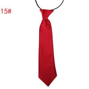 School Boy Uniform Necktie Kids Children Wedding Tie Solid Colour Elastic Ties#
