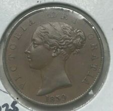 1839 Isle of Man 1/2 Half Penny - Beautiful AU+ - Nice Chocolate Brown