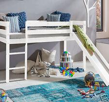 Kinderbett Hochbett mit rutsche Leiter Hochbett Spielbett Kiefer Massiv  Weiss.