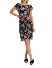 Leona Edmiston *leona* Faux Wrap Keyhole Flutter Sleeve Dress Sz 10