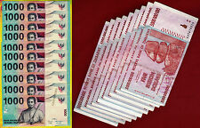 10 x 5 Billion Zimbabwe Dollars + 10 x 1000 Indonesia Rupiah Banknotes Mixed Set