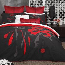 Queen Bed Size Doona Duvet Quilt Cover Set Shoji Black Logan and Mason - 3pc
