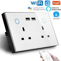 2Gang UK 13A Touch Switch Plug Sockets Double USB Socket WIFI Intelligent Socket
