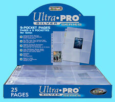 25 ULTRA PRO SILVER 9-POCKET Card Pages Sheets Standard Size Binder Trading