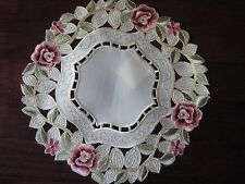 "Doily 11""  round Rose flower decor  embroidered lace embroidery"