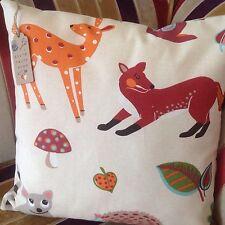 "'Woodland' 18"" CUSHION COVER Animals Deer Fox Raccoon Nature Nursery/Kids Ethno"