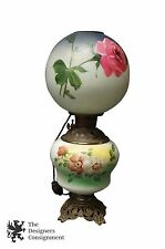 """Antique Victorian Hand Painted 22"""" Gone with the Wind Converted Oil Table Lamp"""