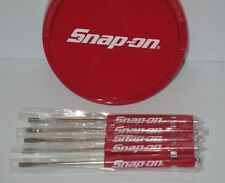 (5) FIVE Snap on Pocket Screwdriver, Flat Tip Screwdrivers, RED ~ Magnetic .NEW.
