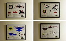 1966 Batman Set of 4 Vehicle Illustration Art Prints Limited Edition Signed #'d
