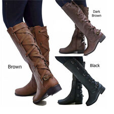 WOMENS LADIES SLIM CALF KNEE HIGH STRETCH BUCKLE ZIP WINTER RIDING COWBOY BOOTS