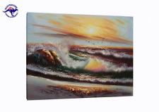 FRAMED! Waves Hit Rocks On Seashore in Sunset Glow Seascape Sea Oil Painting