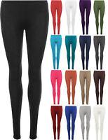 New Womens Plain Stretch Ladies Full Length Long Leggings Pants Plus Size 8-26