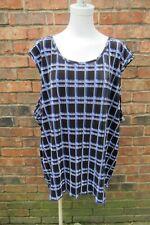 Maggie Barnes 4X Sleeveless Blue Black White Geo Print Stretch Shell Blouse NWT