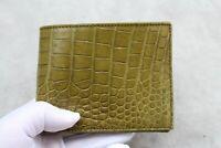 Double Side Handmade Genuine Crocodile Leather Skin Men Bifold Wallet Moss Green