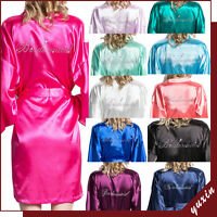 Women Satin Silk Dressing Gown Wedding Bride Bridesmaid Robe Bridal robe BR22