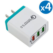 4x 30W 3-Port USB Wall Charger Dual Quick Charge 3.0 Ports For iPhone Samsung LG