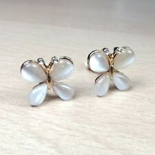CLIP ON Earrings Butterfly Crystal Gold Rhinestone Fake Studs Stud Non Pierced