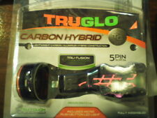 TRUGLO CARBON HYBRID BOW SIGHT~5 PIN BLACK ADJUSTABLE FOR RIGHT/LEFT~NEW~W/LIGHT