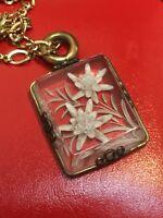 Viintage Old White Flowers On Acrylic Pendant Necklace
