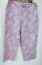 IZOD Pink Multi Color Paisley Cropped Pants Cotton Stretch Size 12 Ex Condition